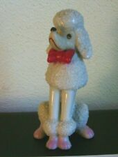 Vintage White Sugar Textured Poodle - Red Bow Tie