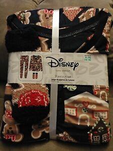 New Womens Disney Mickey Minnie Mouse Gingerbread 3 Piece Pajamas Set XL 16/18