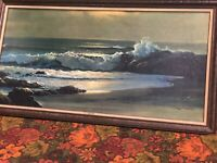 LARGE VINTAGE ROBERT WOOD GOLDEN SURF PRINT PAINTING WITH FRAME