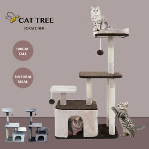 100cm Cat Tree Trees Scratching Post Tower Scratcher Condo House Stand - Brown