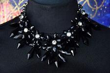 Zara Statement Kette Blogger große Kristallblumen schwarz Collier Necklace NEU