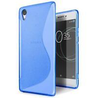 Handy Hülle für Sony Xperia E5 TPU Slim Case Silikon Cover Schutz Tasche Blau
