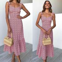 Ladies Boho Sundress Elastic Strappy Sleeveless Bow Knotted Floral Midi Dress