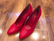 Ladies M&S Heeled Courts Shoes, Red, Size 6.5/EU 40