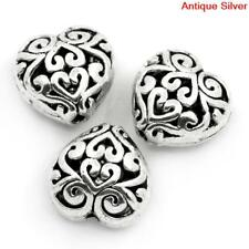 10 ANTIQUE SILVER FILIGREE HEART SPACER BEADS~13mm~Bracelet~Necklace~Chain (75E)