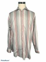 TD Thomas Dean Men's Shirt XL Extra Large Striped White Red Gray Button Up L/S