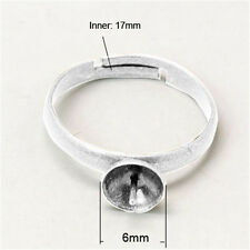 10PCS Brass Ring Mountings and Settings Adjustable Silver Tray 6mm DIY Making