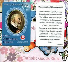 Saint St. Alphonsus Liguori with Prayer  - Relic Paperstock Holy Card