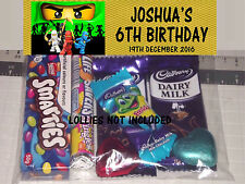 12 x Lego Ninjago Green Print Kids Personalised Birthday Party Loot Lolly Bags