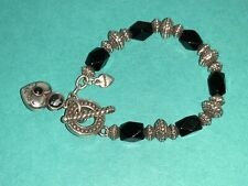 🌸 Brighton Silver Black Bead Heart Toggle  Bracelet (B11) 🌸