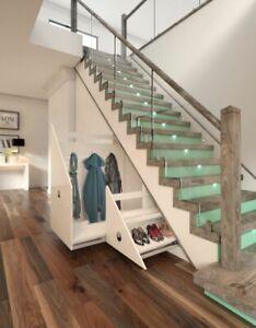 Bespoke Design Under Stairs Storage Pull out Wardrobe. 4 doors shaker