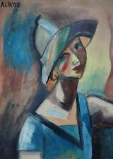 Fine French Cubism era original portrait painting, Signed