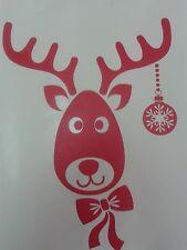 """3 x rudolph le renne rouge autocollants de noël décoration de fenêtre 10"""" - 25 cm"""