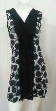 White House Black Market stretch mesh floral dress Grecian drape front sz S