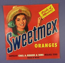 c1940's Pictorial Fruit Crate Label - Sweetmex Oranges - Original Unused Stock