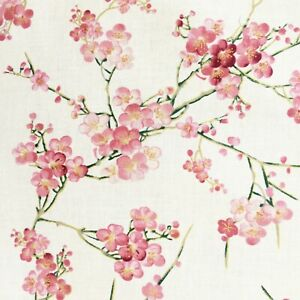 Cherry blossom fabric, Japanese sakura Chinese Oriental pink gold cotton