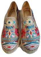 EUC Johnny Was Embroidered Metallic Floral Espadrilles Platform 40 shoes 8.5 9