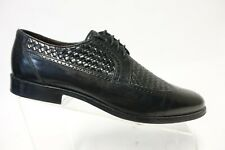 E.T. WRIGHT Black Sz 9.5 B Na Men Made In Italy Weave Wingtip Oxfords