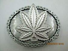 weed marijuana pot ganja leaf 420 biker belt buckle