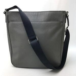 COACH Lexington logo charm Shoulder Bag Gray Leather F71286