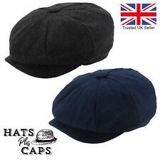 Peaky Blinders Mens Newsboy Flat Cap Gatsby 8 panel Hat Grey Navy Herringbone