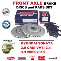 FOR HYUNDAI SONATA 2.0 CRDi VVTi 2.4 3.3 2005-2010 FRONT AXLE BRAKE PADS + DISCS