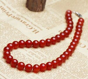 6mm, 8mm, 10mm Red Agate Necklace
