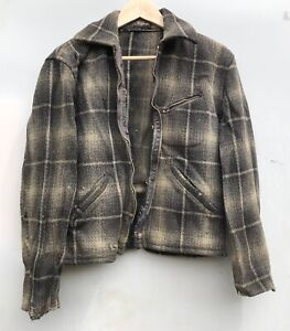 Vintage 1930's Rockabilly Plaid Wool Ricky Jacket Coat Penny Co. Outdoor