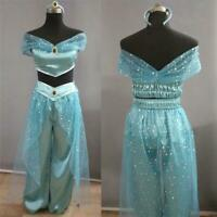 Aladdin Jasmine Princess Cosplay Women Girl Fancy Dress Up halloween Party Costu