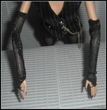 ACCESSORY BARBIE DOLL JAZZ BABY CABARET DANCER  BLACK SILVERY PINSTRIPE GLOVES