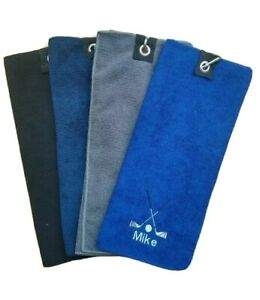 Personalised Golf Towel embroidered with golf clubs with your text/name