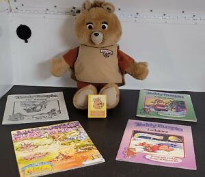 Vintage Teddy Ruxpin Bear  With 4 Books And One Tape *Missing its battery box
