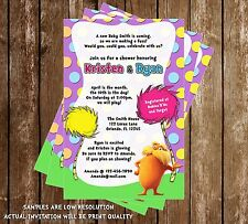Dr Seuss - The Lorax - Baby Shower Invitations - 15 Printed W/envelopes