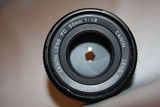 Canon FD 50 mm 1:1 .8 manuel Japon Lens CAPS-Light pliée sur filetage!!!