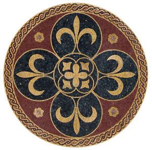 """MD006, 59.06"""" Fleur de lis Mosaic Medallion Home Decor"""
