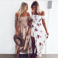 Womens Off Shoulder Floral Long Maxi Dress Summer Ladies Beach Party Sun Dress