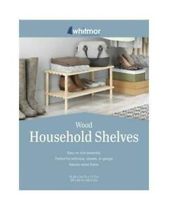 "Whitmor 6026-3562 Natural Wood 6-Pair 2 Shelf Shoe Rack 24.75"""