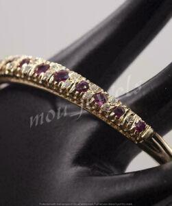 Pretty 5Ct Round Cut Ruby& Diamond Women's Bangle Bracelet 14K Yellow Gold Over