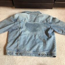 Harley Davidson Light Wash Denim Jacket w REMOVABLE FLEECE LINER Men's M Medium