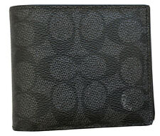 Coach 74936 Men Sig Compact ID 3 in 1 Wallet Bifold Wallet