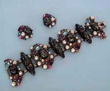 Rare Verified Selro Black & Pink Pearl Rhinestone Art Glass  Bracelet & Earrings