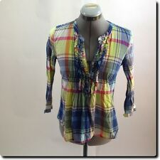 Hollister Blue Green and Pink Plaid Top Xs