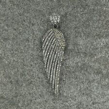 Pave Genuine Diamond Necklace Wing Sparkle Sterling Silver Vintage Charm Pendant