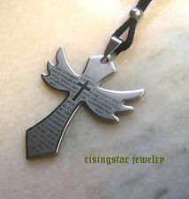 Trendy Quality Stainless Steel Angel Wing Cross + Bible Pendant Surfer Necklace