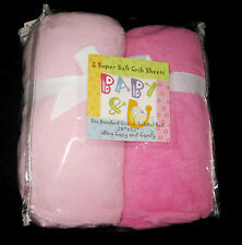 FULL CRIB SIZE- Baby & U Super Soft -  Light Pink & Med Pink 2  FITTED SHEETS