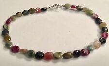 Watermelon Tourmaline Anklet Genuine Natural Gemstones 10 inches length