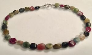 Sterling Silver Watermelon Tourmaline Anklet Genuine Gemstones 10 inches length