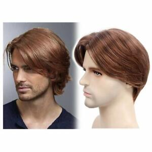 Men's Golden Brown Straight Wig Medium Length Synthetic Hair Male Natural Style