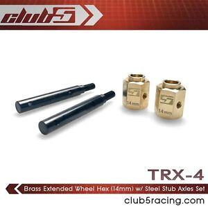 Brass Extended Wheel Hex (14 mm) w/ Steel Stub for TRX-4 2021 Bronco / Defender