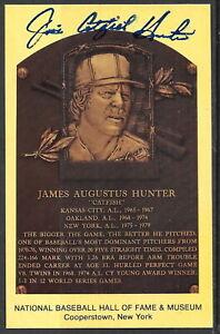 "Jim ""Catfish"" Hunter Autograph on HOF Plaque"